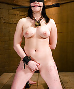 Brunette roped, pegged and fucked