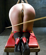 Blonde roped, ball-gagged, pegged and fucked