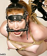 Cute ponygirl roped and suspended