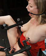 Cuffed legs spread wide, clamped and vibed
