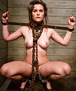 Charlotte gets cuffed, chained and trained to suck