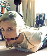 Tightly roped, hogtied and ball-gagged