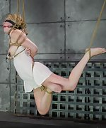 Hot blonde gets roped and suspended