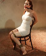 Denisa chair-tied, tightly ball-gagged, drooling, whining, moaning