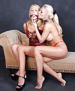 Cute lesbian blond is ball-gagged and teased