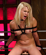 Blond girl tied up and machine fucked