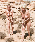 Two girls in extreme desert bondage games