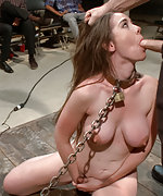 Busty amateur tied up, fucked, made to squirt