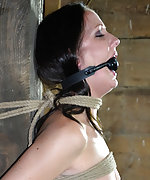 Fit beauty roped, suspended and gagged tightly