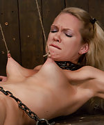 Slavegirl suffers hard foot torture and nipple pain
