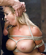Blonde milf gets tied up, flogged, spanked, fucked