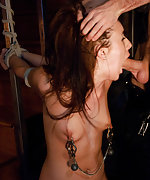 Manhandled and ass fucked in hard bondage