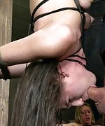 Suspended upside down, skull fucked and squirting