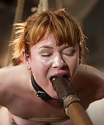 Redhead slavegirl roped, pegged, suspended and vibed