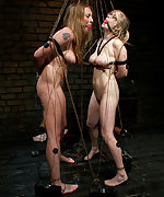 Two girls in predicament bondage - shocked and teased