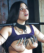 Brunette roped, cuffed, tortured with pegs and clamps