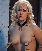 Sexy blonde roped, tits tortured and waxed