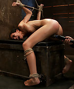 Tall skinny brunette gets brutally bound, caned and vibed
