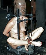 Caged, restrained in metal, dildoed and vibed