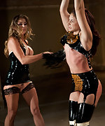 Sexy latex brunette tied up, spanked, strap-on fucked