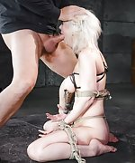Blond roped, clamped and fucked by three cocks