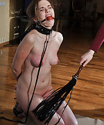 Tits clamped, ball-gagged, whipped, used
