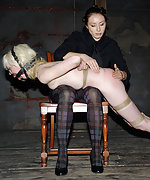 Hot blonde roped, spanked, locked and trained