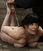Severely bound, ass plugged, caned & hogtied