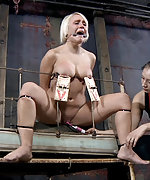 Blonde gets roped, tits tortured and dildoed