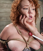 Redhead roped, spanked, ass-dildoed, nipple-trained