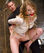 Two beautiful blonds tied tight and erotically tormented