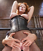 Redhead gets punished, roped, strapped and fucked