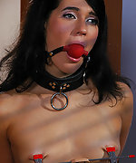 Brunette gets ball-gagged, clamped & used