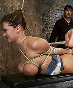 Tightly bound, hogtied, abused, throat fucked, made to cum