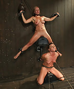 Two girls on sybians with severe nipple bondage