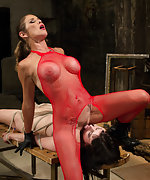 Lesbian sub gets roped, suspended, pegged and used